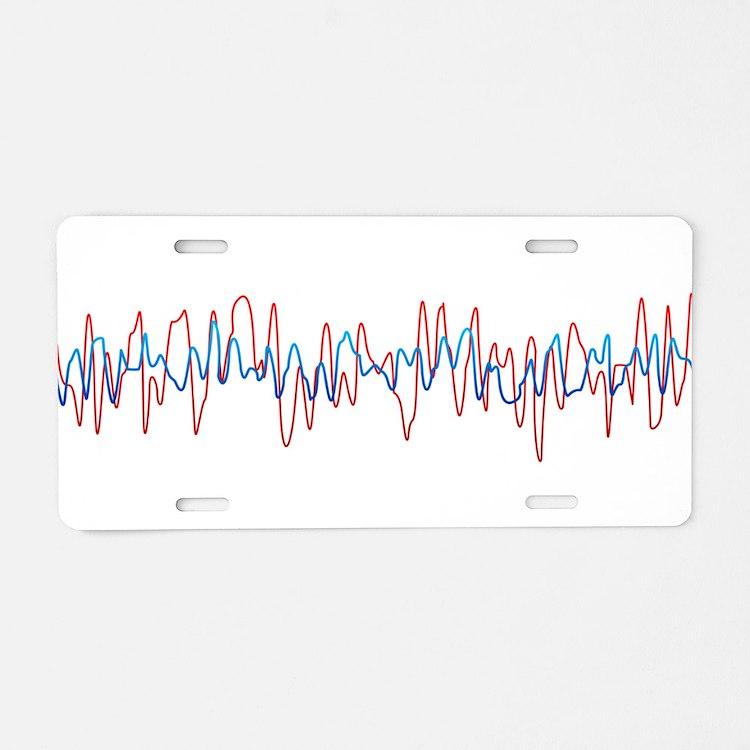 Sound Waves Aluminum License Plate