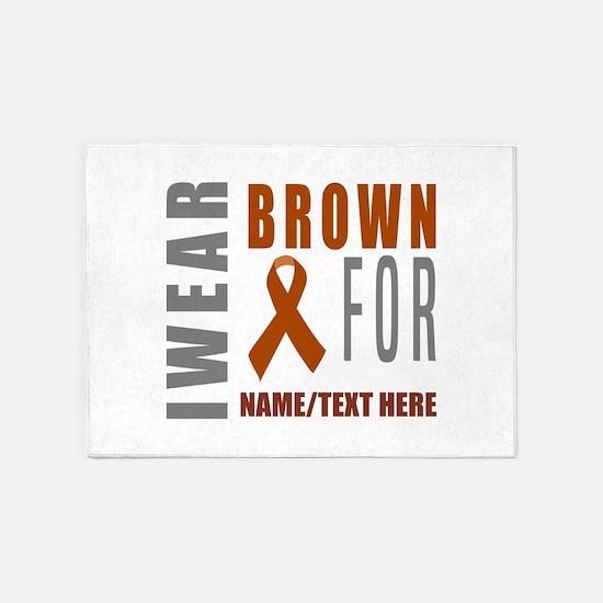 Brown Awareness Ribbon 5'x7'Area Rug