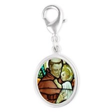 St Anthony Silver Oval Charm