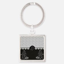 Elegant Love Square Keychain