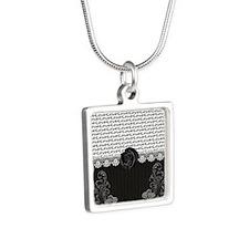 Elegant Love Silver Square Necklace