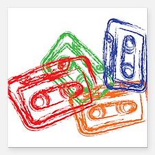 "Cute Cassette Square Car Magnet 3"" x 3"""