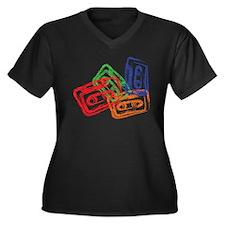 Cute Cassette Women's Plus Size V-Neck Dark T-Shirt