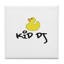 Cute Baby and house music Tile Coaster