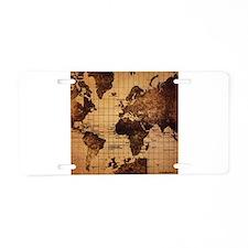 Vintage World Map Aluminum License Plate