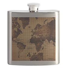 Vintage World Map Flask