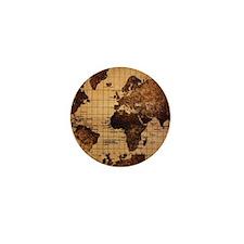 Vintage World Map Mini Button (10 pack)
