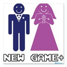 """New Game + Marriage Square Car Magnet 3"""" x 3"""""""