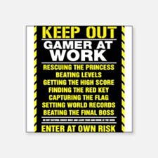 """Gamer At Work Square Sticker 3"""" x 3"""""""