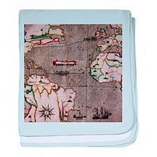 Nautical India Map baby blanket