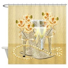 Shoes, Roses, Pearls And Champagne Shower Curtain