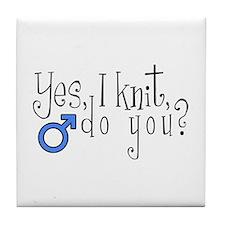 Men Knit Too! Tile Coaster
