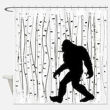 Bigfoot In Birch Shower Curtain