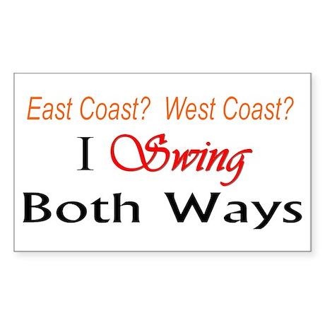 """I Swing Both Ways"" Rectangle Sticker"