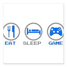 "Eat Sleep Game Square Car Magnet 3"" x 3"""