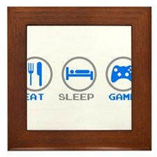 Eat Sleep Game Framed Tile