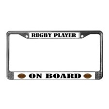 Rugby Player On Board License Plate Frame