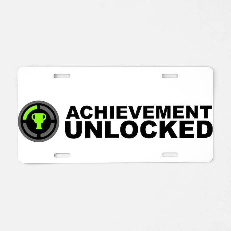 Achievement Unlocked Aluminum License Plate
