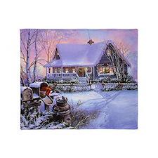 Vintage Winter Christmas Scene Throw Blanket