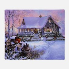Vintage Winter Christmas Scene Throw Blanket