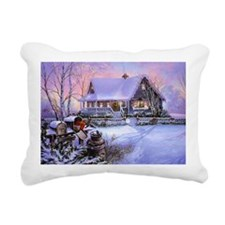 Vintage Winter Christmas Rectangular Canvas Pillow