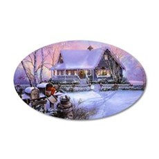 Vintage Winter Christmas Sce 35x21 Oval Wall Decal
