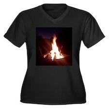 Unique Flame Women's Plus Size V-Neck Dark T-Shirt