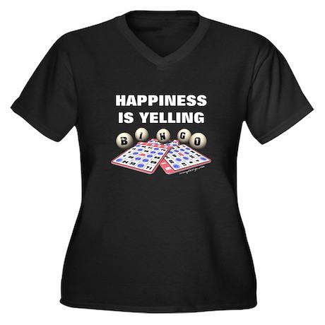Happiness is Yelling Bingo! Women's Plus Size V-Ne