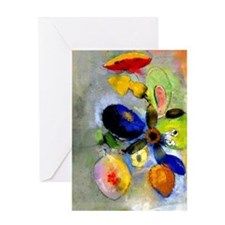 Odilon Redon floral painting: Flower Greeting Card