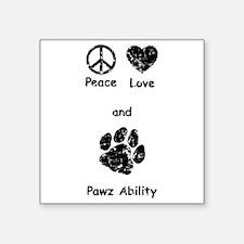 """PeaceLovePawz Square Sticker 3"""" x 3"""""""