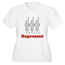 "Trumpet ""Represent"" Women's Plus V-Neck T-Shirt"