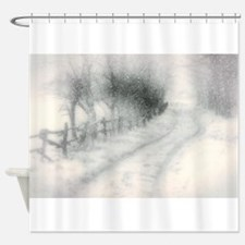 snowy country road Shower Curtain
