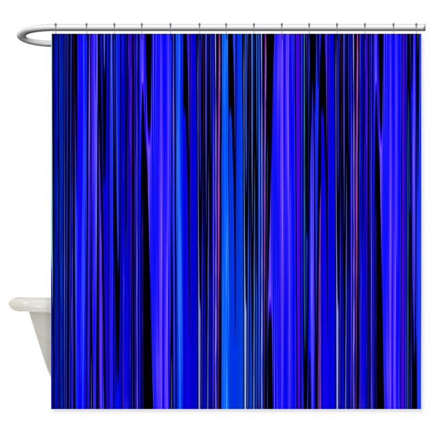 Blue Stripes Shower Curtain By Zodiarts