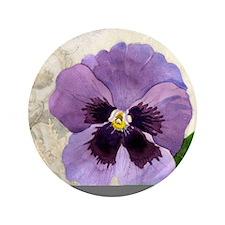 """Purple Pansy Scroll Original Watercolo 3.5"""" Button"""