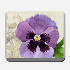 Purple Pansy Scroll Original Watercolor  Mousepad
