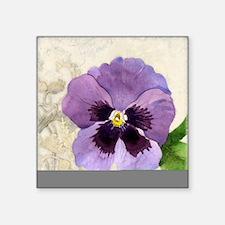 "Purple Pansy Scroll Origina Square Sticker 3"" x 3"""