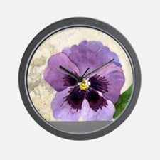Purple Pansy Scroll Original Watercolor Wall Clock