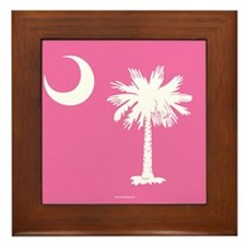SC Palmetto Moon State Flag Pink Framed Tile
