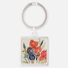 IRIS FLOWER Square Keychain