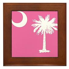SC Palmetto Moon State Flag Pink Framed Tile