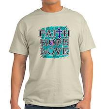 Thyroid Cancer Faith Hope Love T-Shirt