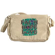 Thyroid Cancer Faith Hope Love Messenger Bag