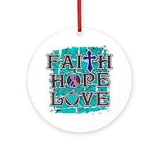 Thyroid Cancer Faith Hope Love Ornament (Round)