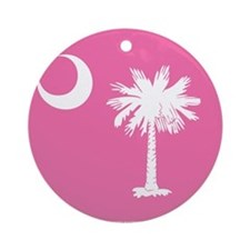 SC Palmetto Moon State Flag Pink Ornament (Round)