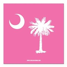 SC Palmetto Moon State Flag Pink Square Car Magnet