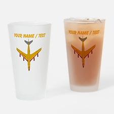Custom Yellow Airplane Drinking Glass