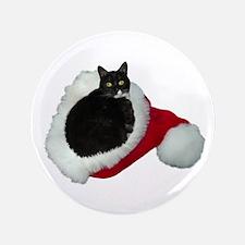 """Cat Santa Hat 3.5"""" Button"""