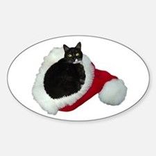 Cat Santa Hat Sticker (Oval)