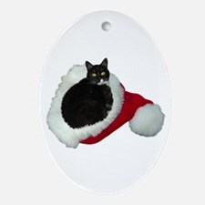 Cat Santa Hat Ornament (Oval)