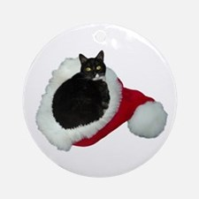 Cat Santa Hat Ornament (Round)